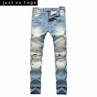 Mens Light Bleached Blue Skinny Ripped Tapered Biker Jeans Straight Slim Fit Denim Pants for Men Distressed Frayed Trousers