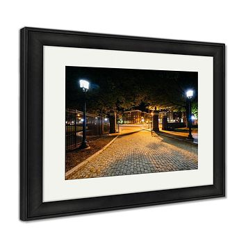 Framed Print, The Cobblestone Driveway To Johns Hopkins University At Night I