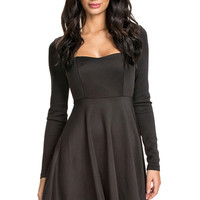 Long Sleeve Solid Color Backless Dress