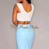 Sky-Blue Faux Patent Leather Skirt