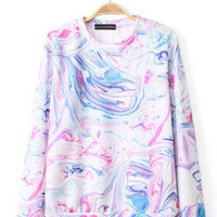 Colorful Print Long Sleeve Pullover Sweatshirt