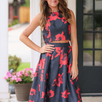 Nice to Know You Two Piece Set - Black and Red