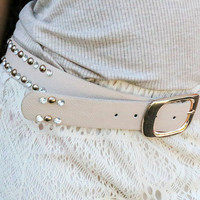 What A Stud Gold And Diamond Studded Beige Belt
