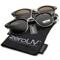 zeroUV - Vintage Half Frame Semi-Rimless Horn Rimmed Style Classic Optical RX Sunglasses (2-Pack)