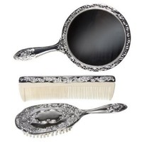 3 pc Silver Chrome Girls Vanity Set Comb Brush Mirror.