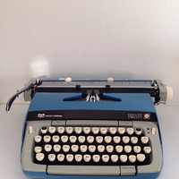 Galaxie Twelve Typewriter in Robins Egg Blue In Nice Working Condition Galaxie 12 Smith Corona