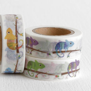 Chameleon Washi Tape, Lizard Party Colorful Reptile Decorative Paper Tape, 15mm
