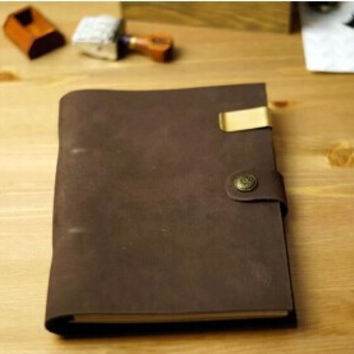 RoGe's Brand for Leather button loose retro Note book Vintage stely head layer diary handmade leather note book free shipping