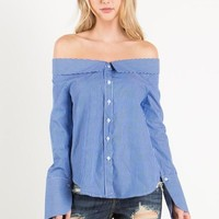 stripe button down off the shoulder top