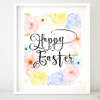 Happy Easter, pastel floral printable decor