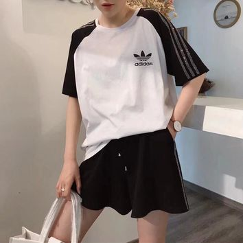 """Adidas"" Women Fashion Casual Hot Fix Rhinestone Stripe Multicolor Short Sleeve Shorts Set Two-Piece Sportswear"