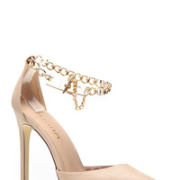 Nude Pointed Toe Chain Linked Heels