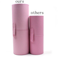 3 colors New The large  Empty Portable Makeup Brush Round Pen Holder Cosmetic Tool PU Leather Cup Container Solid Case