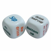 2 Pcs 25mm Super White Funny Party English Letter Drink Decider Dice Round Corner Portable Games Pub Bar Fun Die Toy Gift