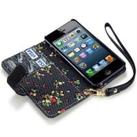 IPHONE 5 PREMIUM PU LEATHER WALLET CASE WITH FLORAL INTERIOR - BLACK