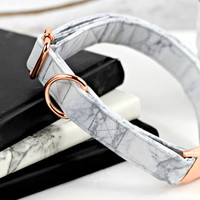 Dog Collar - White/Gray Marble - Rose Gold Hardware
