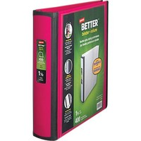 1-1/2 Staples® Better® View Binders with D-Rings, Pink