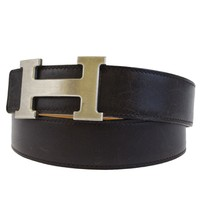 Authentic HERMES Reversible Constance H Buckle Belt Leather Brown #85 31BD403