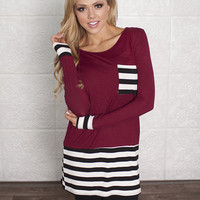 Drivin with Stripes Tunic Burgundy