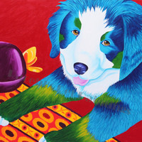 Bernese Mountain Dog Puppy Print , Limited Edition Print of Painting , Colorful Modern Dog Art