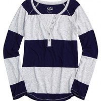 Striped Henley   Girls Long Sleeve Tops & Tees   Shop Justice