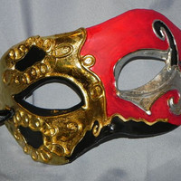 Red, Black, Gold and Silver Men's Mask