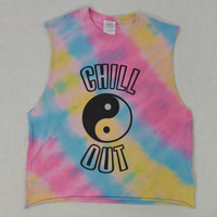 Tie Dye Shirt Hippie Tank Yin Yang Chill Good Vibes Soft Grunge Pale Women Clothing Handmade Tie Dye Chill Out Striped Funky Groovy Festival