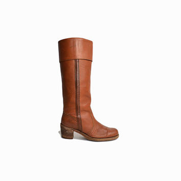 Vintage FRYE Jane Boots in Burnt Sienna / Knee-High Boots / Heeled Leather Frye Boots- women's 10