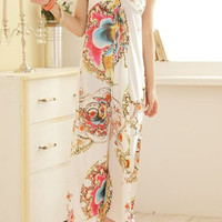 White Halterneck Floral Print Backless Dress