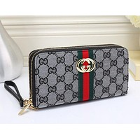Gucci Fashion Women Leather Double Zipper Purse Wallet
