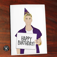 Happy Birthday - Justin Bieber Holding Sign with Birthday Hat - Greeting Card 4.5 X 6.25 Inches