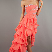 Strapless High Low Ruffle Dress