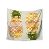 "Judith Loske ""Happy Pineapples "" Yellow Gold Wall Tapestry"