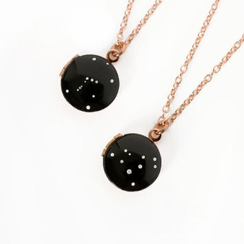 Custom Rose Gold Locket Necklace with Zodiac Constellation - Hand Painted, Vintage Locket, Personalized, Rose Gold Chain, Birthday Star Sign