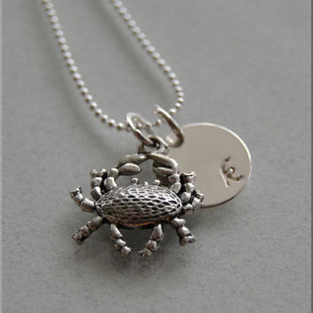 Personalized Crab Necklace, Ocean Necklace, Ocean Jewelry, Initial charm necklace, Personalized, crab charm, cancer jewelry, monogram
