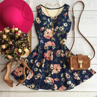 Slim Floral Printed Mini Dress