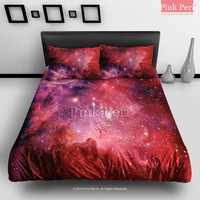 Red Milky Way Nebula Space Galaxy Bedding sets Home & Living Wedding Gifts Wedding Idea Twin Full Queen King Quilt Cover Duvet Cover Flat Sheet Pillowcase Pillow Cover 012
