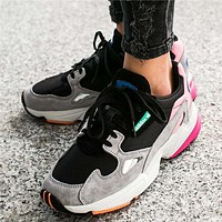 Adidas Falcon Black powder stitching women running shoes