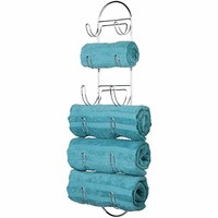 mDesign Modern Decorative Metal Wire Over Shower Door Towel Rack Holder Organizer - for Storage of Bathroom Towels, Washcloths, Hand Towels - 3 Tiers - Chrome