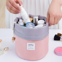 2016 Real New Arrival Barrel Shaped Travel Cosmetic Bag Nylon High Capacity Drawstring Drum Wash Bags Makeup Organizer Storage