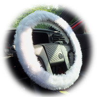 Snow white faux fur furry fluffy fuzzy car Steering wheel cover