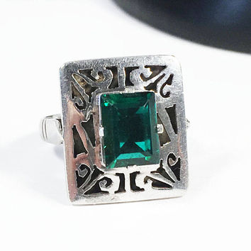 Vintage Ring with Simulated Emerald Channel Cut Stone, Art Nouveau Inspired Girl's Sz 4.25 Faceted Birthstone Ring with Open Work Design
