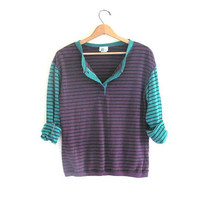 vintage long sleeve top. button front henley. purple and green 1980s striped shirt