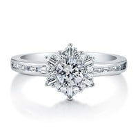 Round Cut Cubic Zirconia CZ 925 Sterling Silver Snowflake Fashion Ring #r763