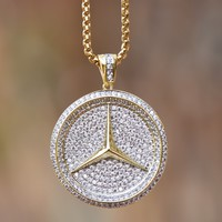 Stainless Steel Chain Pendant Car Logo 14K Gold Finish Lab Diamond