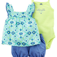 3-Piece Neon Bubble Short Set