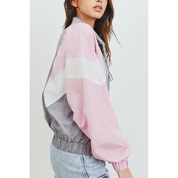 Long Sleeve High Collar Zip Up Colorblock Windbreaker Jacket