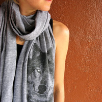 WOLF Scarves, tri-blend heather brown, blue or grey, long scarf screenprinted, perfect gift for him or her, spooky eyes