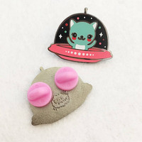 UFO Kitty Cat Enamel Pin - Your Color Choice