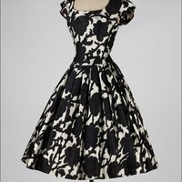 Vintage 1950's Pauline Trigere Black + White Silk Satin Cocktail Dress